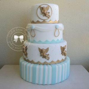 bolo de batizado mais lindo do mundo azul