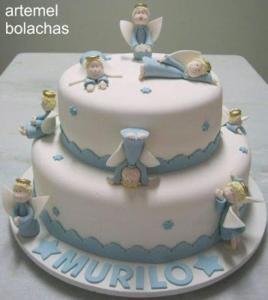 bolo de batizado mais lindo do mundo com anjinhos