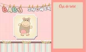 convite chá de bebê menina modelo 5