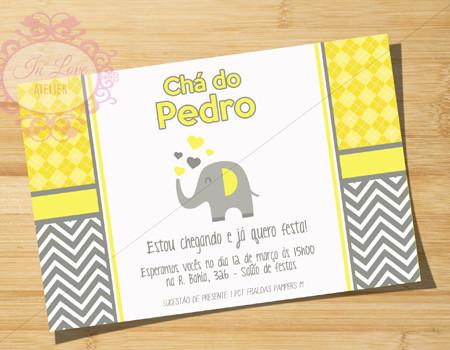 convite chá de bebê elefantinho